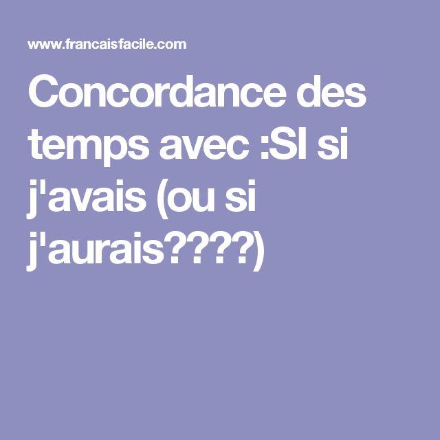 Bien parler français: concordance des temps avec ....si...j'avais (ou si j'aurais????)