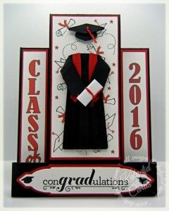 Card I made for the Hat's Off Blog Hop. Love this fancy fold! I made the cap and gown, the template is on my blog.