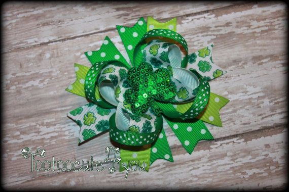 St. Patrick's Day Hair Bow  Clover Hair Bow  St. by tootoocute4you