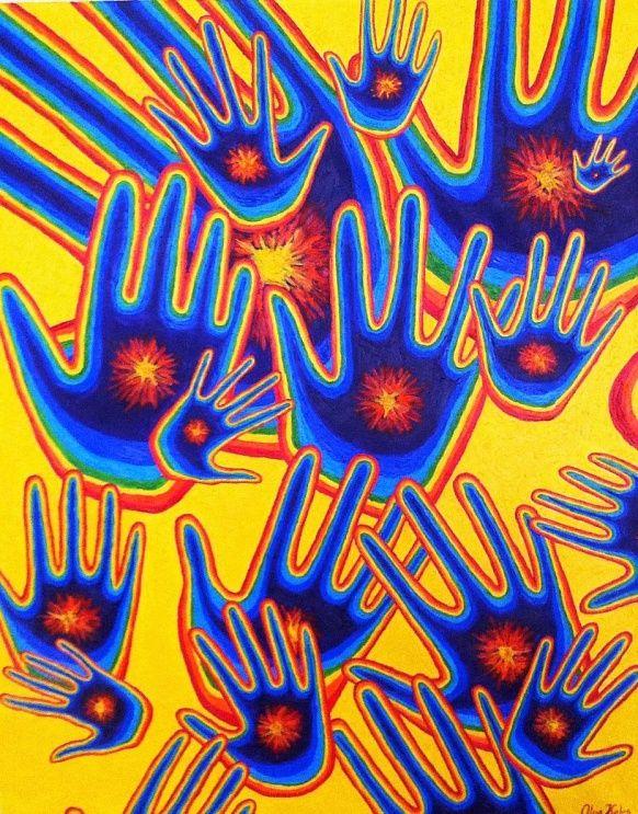 "''Healing hands"" 80/60 Oil, Canvas #positivismart #art #healing #hands #modern #contemoraryart #colorful #rainbow #olgakeles #shine #oiloncanvas"