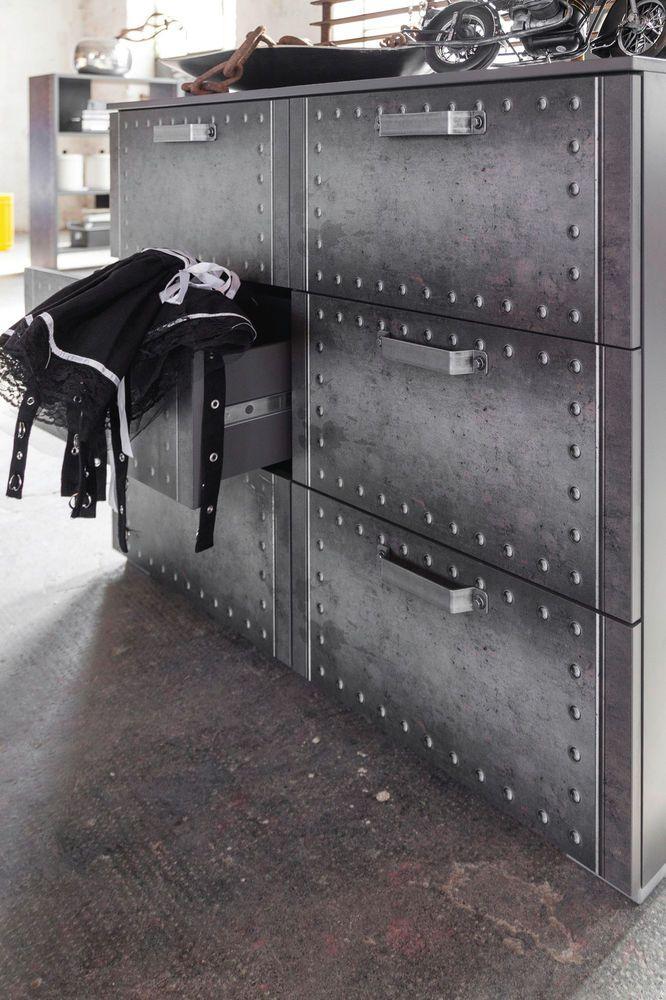 Trend Rauch Select Kommode mit Schubk sten Workbase Industrielook Vintage M bel u Wohnen