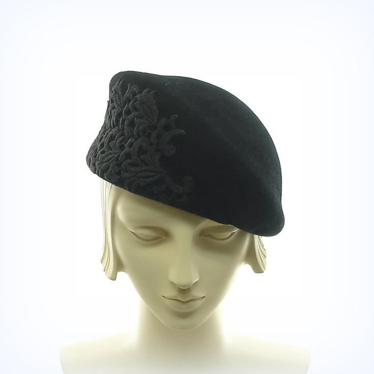 Black Beret Hat for Women - Vintage Style Handmade Hat - Felt Winter Hat. $255.00, via Etsy.