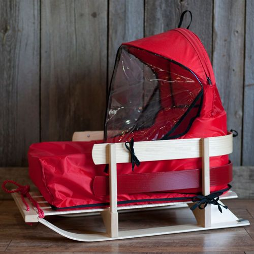 Wooden Baby Sled with Cushion and Windshield