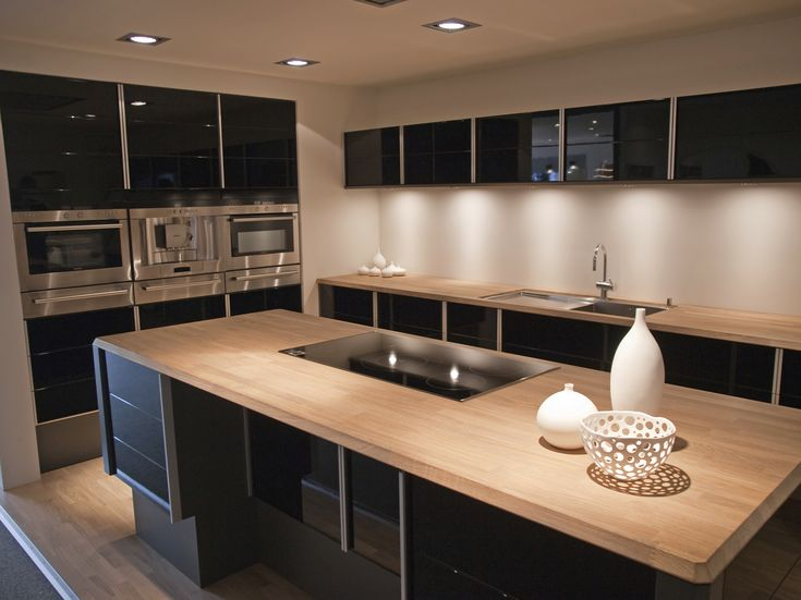 Modern Kitchen Design Black Cabinet Island Hardwood Countertop Sink Faucet  Recessed Light Panel Appliances Wooden Flooring Pictures Kitchens New  Product ... Part 52
