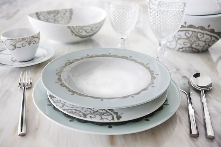 Heart Blue | 2015 DINNERWARE Collections - 84 Piece Dinner Set, 56 Piece Dinner Set, 44 Piece Dinner Set, 13 Piece Tea Set, 13 Piece coffee Set #dinnerware #porcelain #limogespaste #portuguese #GAHomeStyle