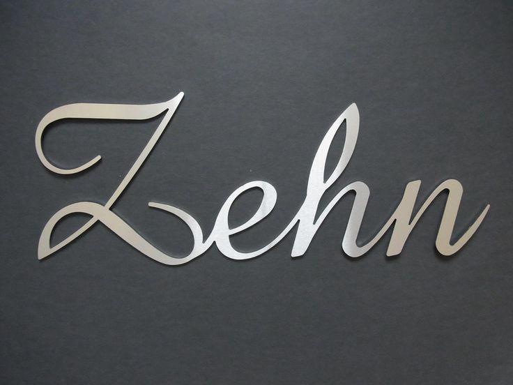 Edelstahl+Hausnummer+Schreibschrift+Zehn+HN7010+von+THaz-Edelstahldesign+auf+DaWanda.com