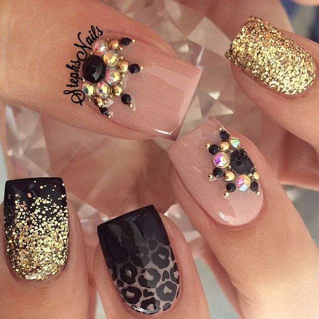 Last but not least my fav the trendy leopard ombre ❤️forgot to post them yesterday! #nude#nudenails#notpolish#stephsnails#leopardprintnails#blackombre#diamonds#studs#glitterombre#gold#nude#black#acrylicnails#lodinails#squarenails#studdednails#stephsnails#stephset