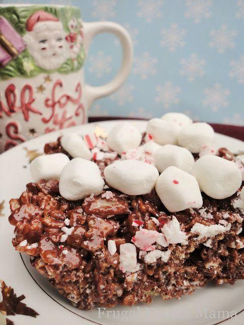 Peppermint Hot Chocolate Krispie Treats #Christmas