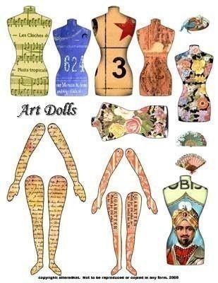 Digital Collage Sheet Download Altered art doll digital collage sheet torso legs arms No. 106