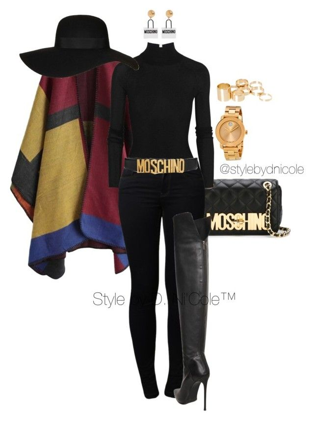 """""""Untitled #3130"""" by stylebydnicole ❤ liked on Polyvore featuring Moschino, T By Alexander Wang, Noisy May, Topshop, Le Silla, Movado, ASOS, women's clothing, women's fashion and women"""
