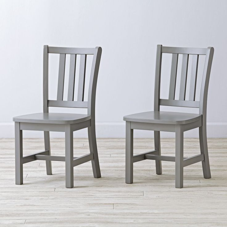 Shop Set of Two Parker Play Chairs (Grey).  A smaller version of our Parker Desk Chair made in a number of different colors to brighten any playroom.  Our Parker Play Chair is an update of the traditional schoolhouse chair with a contoured and angled back.