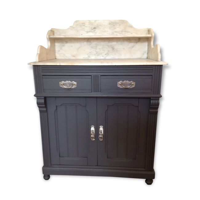 Commode de toilette avec plateau marbre bois mat riau for Commode de salle de bain