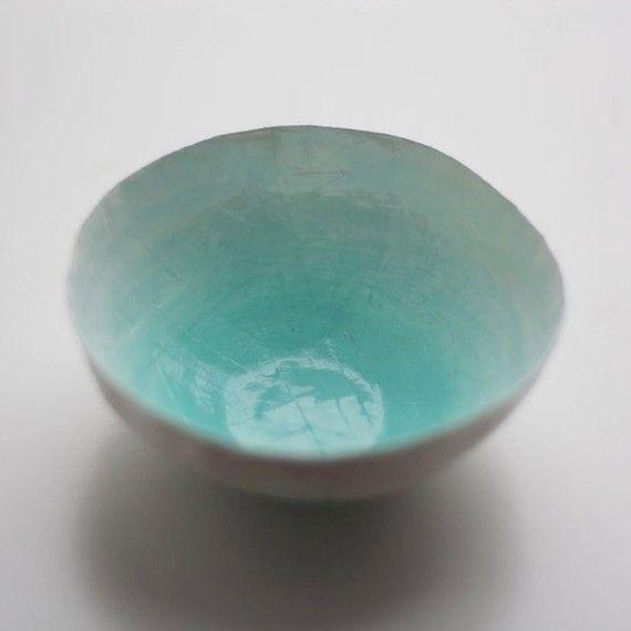 aqua paper bowl by upintheairsomewhere