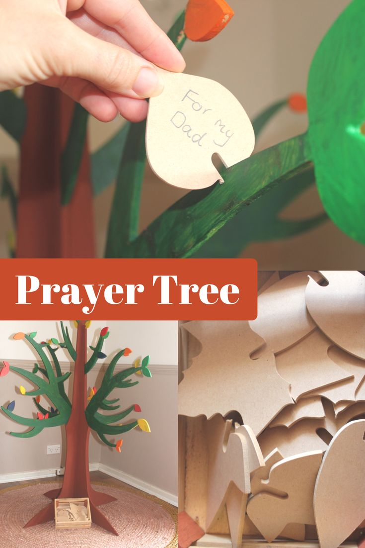 Use the prayer tree time and time again with your Sunday School class. Encourage the kids to write their prayer request on the wooden leaves and attach them to the tree. Answered prayers go into a large glass jar...