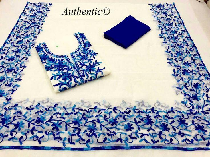 Supernet/ kotta aaree work .....2.5 mts approx top and Dupatta , Heavy silk salwar