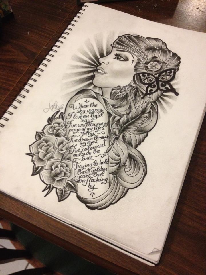 A Gypsy tattoo design I drew for a friend.