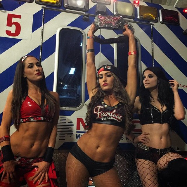 The Bella Twins (Brie and Nikki) and Paige
