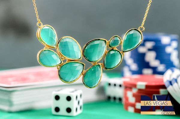 Green like money, this gorgeous green onyx necklace is sure to bring you good luck! [Promotional Pin]