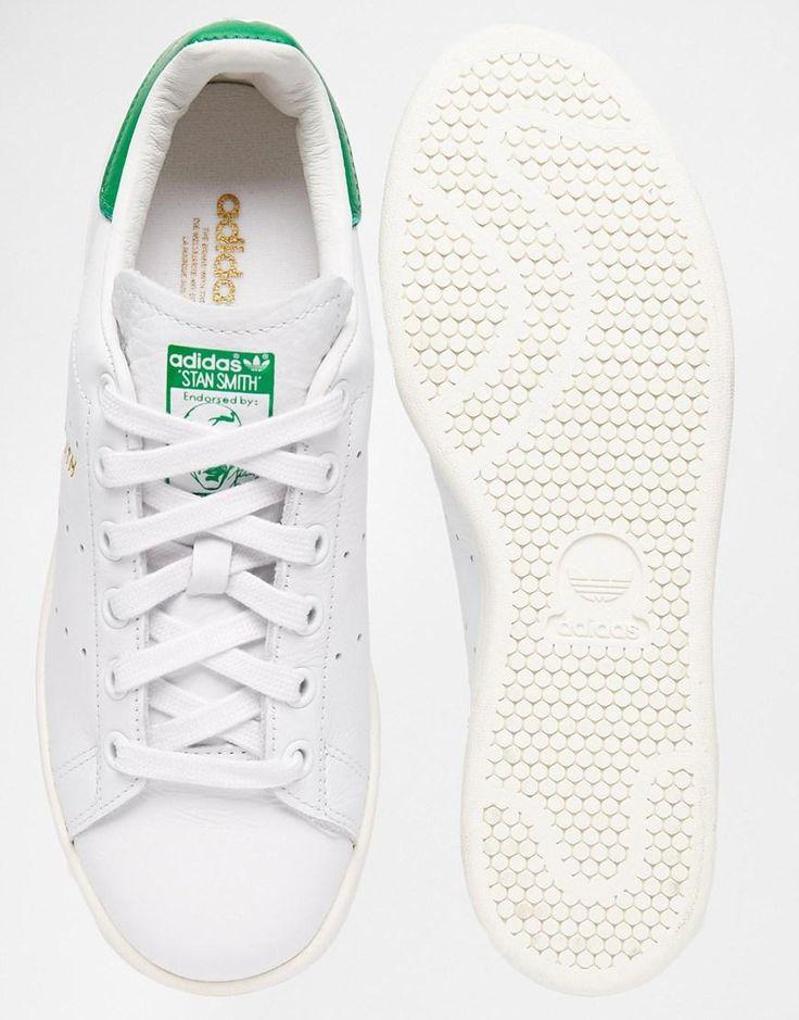 Adidas | adidas Originals White \u0026 Green Stan Smith Trainers at ASOS
