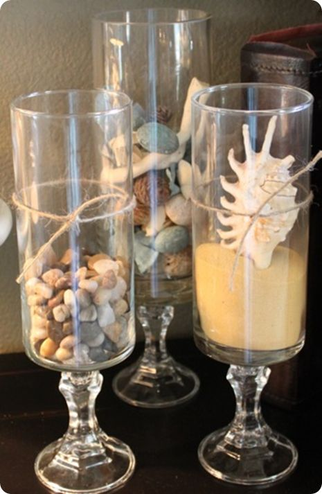 glass hurricane filler ideas: Decor Ideas, Dollar Stores, Diy Hurricane, Candles Holders, Beaches Theme Bathroom, Beaches Bathroom, Bathroom Ideas, Bathroom Decor, Dollar Trees Crafts