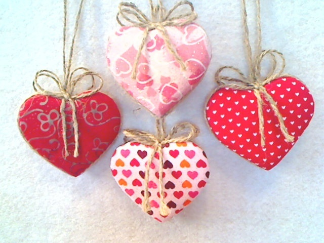 Red & Pink Fabric Heart Ornaments - Set of 4 - Reversible -- N0.1. $6.99, via Etsy.