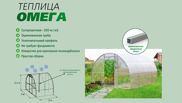 Теплица Омега, из поликарбоната, идеальный вариант для вашего хозяйства. Купить теплицу из поликарбоната от производителя. Ростовская область