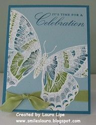 handmade card ... huge Swallowtail embossed in white and blue ... filled with green and darker blue coloring ... gorgeous !! ... Stampin' Up!