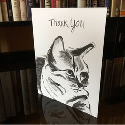 thank you card, birthday card, pet birthday card, note cards, pet portrait, custom ink drawings, original ink drawings, original pet drawings, cattle dog, dog, animal art, unique gift for pet lovers, pet lovers, animal lovers, cattle dog, boston terrier, short hair tabby