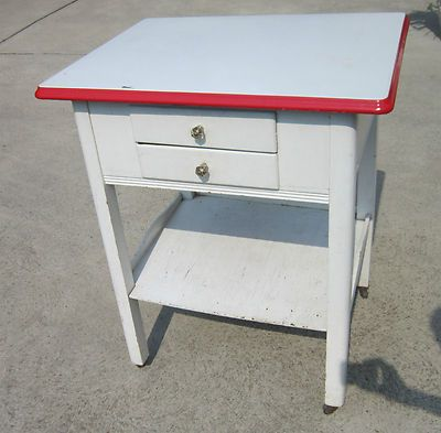 RARE Antique Porcelain Top Enamel Vintage 40s 50s Table Red White Crystal | eBay