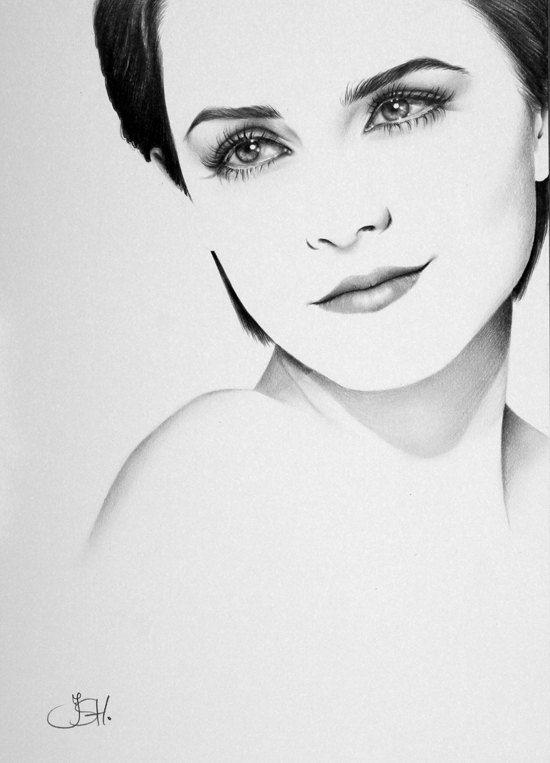 Emma Watson Pencil Drawing Minimalism Fine Art Portrait  Print Hand Signed