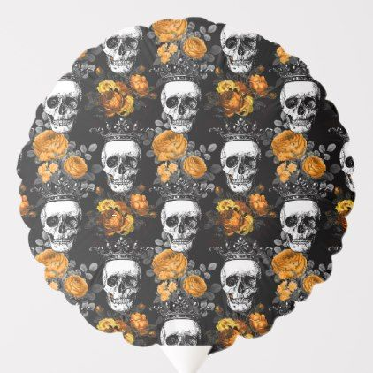 Crowned Skulls with Orange Roses Balloon | Zazzle.com