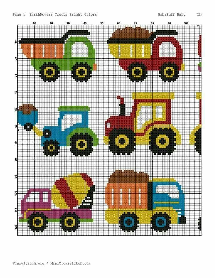 cross stitch trucks