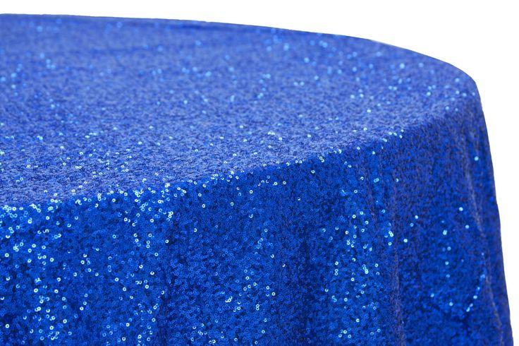 "Glitz Sequins 120"" Round Tablecloth - Royal Blue"
