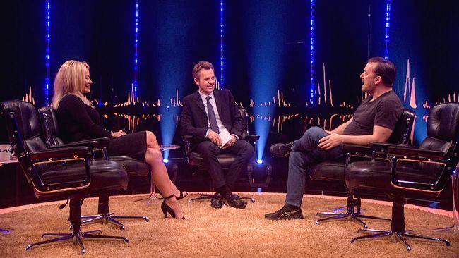 Del 12 av 13. Kvällens gäster är modellen Pamela Anderson, komikern Ricky Gervais, författaren  Yuval Harari och Depeche Mode, som både intervjuas och uppträder.
