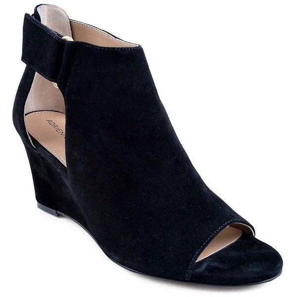 Adrienne Vittadini Women's Riva Open-Toe Suede Wedge Booties (1,995 MXN) ❤ liked on Polyvore featuring shoes, boots, ankle booties, black, suede wedge boots, wedge booties, suede open toe booties, black wedge ankle booties and suede wedge booties