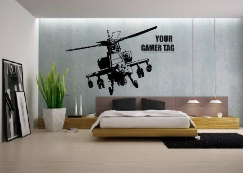 Call of Duty style APACHE HELICOPTER + GAMER TAG COD Boys Bedroom wall art sticker PS3 : wall art for boys bedroom - www.pureclipart.com