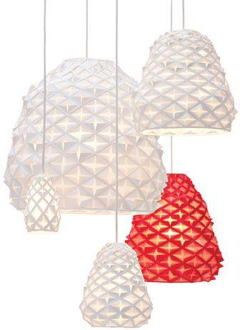 Targetti Poulsen - Papercuts  Cut paper is transformed into different sizes of pendant fixtures reminiscent of paper snowflakes. 954-349-2525; louispoulsen.com.