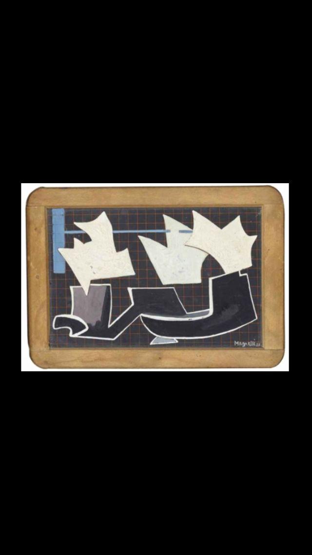 "Alberto Magnelli - "" Étude pour Sonorous Border "", 1937 - Oil and gouache on slate - 19,6 x 28,1 cm"