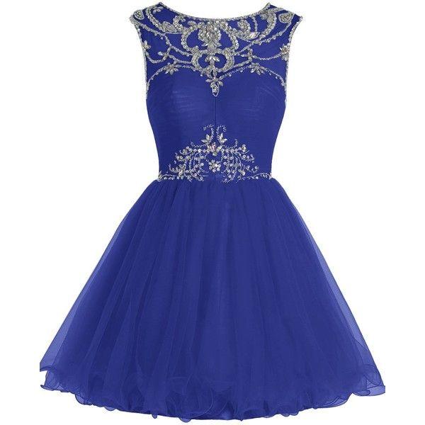 Amazon.com: Dresstells Short Homecoming Dress Scoop Tulle Prom Dress... ($100) via Polyvore featuring dresses, coral cocktail dress, short cocktail dresses, short homecoming dresses, short prom dresses and short blue dresses