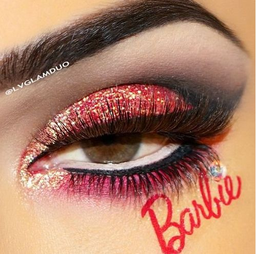 Barbie eye makeup and lashes! ❤
