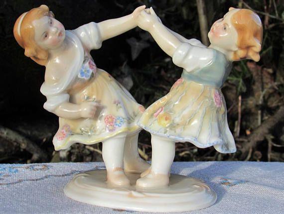 1920s ENS dancing children porcelain figurine Antique playing