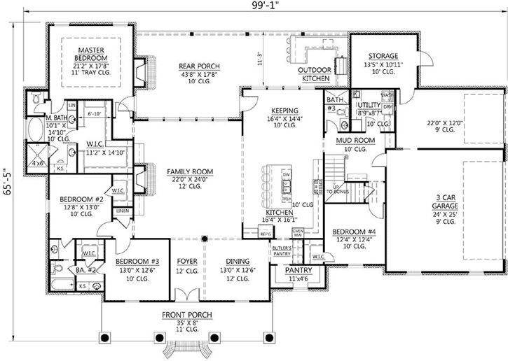 Planes europeos casa de estilo - 3176 pies cuadrados de construcción Home, 1 Piso, 4 dormitorios y 3 3 Baño, 3 Garaje puestos por planes de vivienda del monstruo - Plan de 91-149