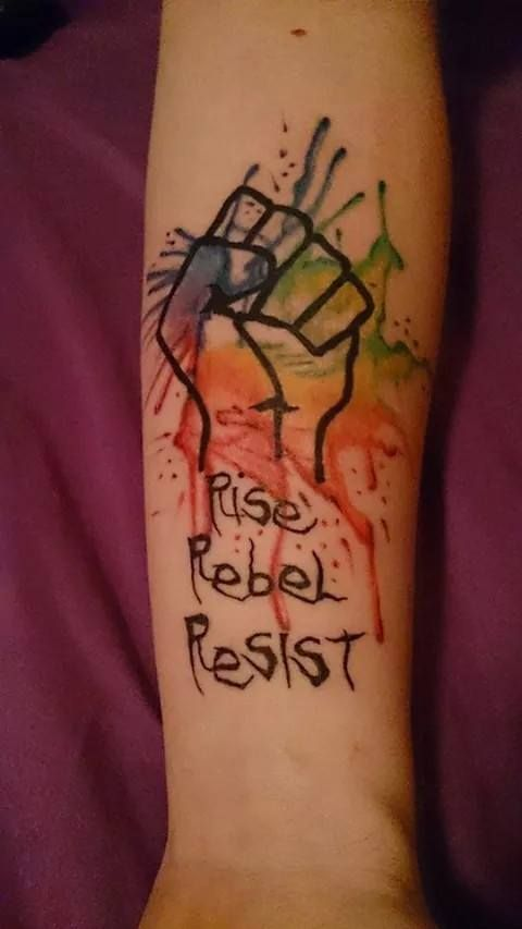 My 2nd tattoo.  Otep lyrics and supporting gay rights.