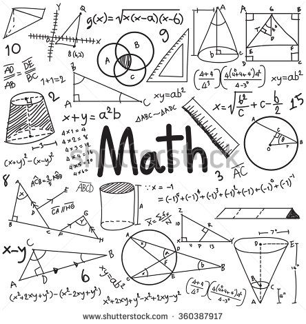 Math theory and mathematical formula equation doodle handwriting icon in white isolated background with hand drawn model used for school education and document decoration, create by vector