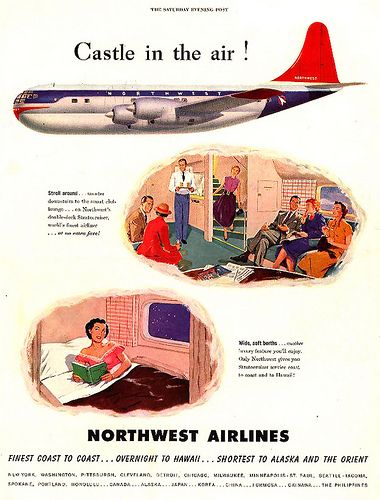 castle-in-the-air--1950 - Northwest Airlines - vintage brand advertising