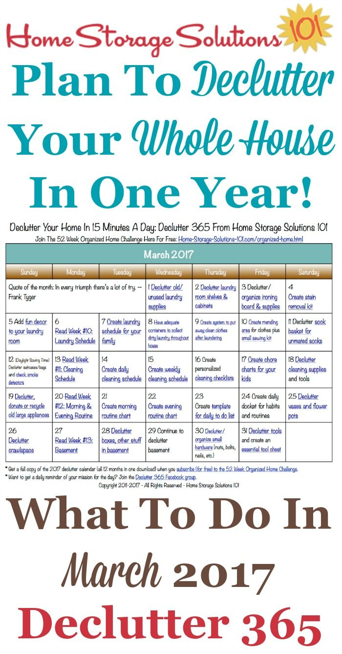 Free printable March 2017 decluttering calendar with daily 15 minute missions. Follow the entire Declutter 365 plan provided by Home Storage Solutions 101 to declutter your whole house in a year.