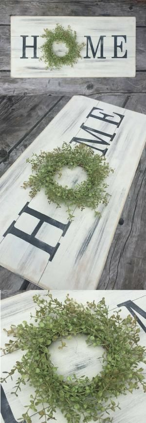Let's celebrate your home! This large wooden home wreath sign is just the smile your walls are looking for. A simple and delightful sign to hang above your couch, over a bed, or to add as the focal point of a gallery wall, you'll love how lightweight and easy it is to hang. The little touch of greenery adds an extra touch of charm to go with your lovely farmhouse style. #home #homesign #farmhouse #farmhousesign #farmhousedecor #farmhousestyle #fixerupperstyle #gallerywall #rusticsign #ad by…