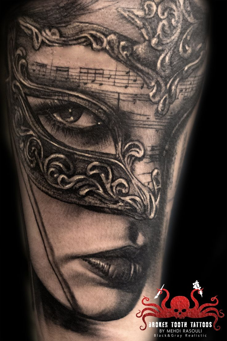 Venetian Mask Tattoo by Mehdi Rasouli broken tooth tattoos