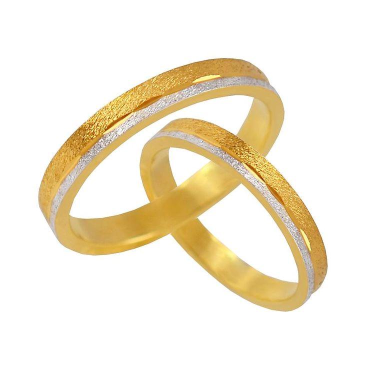 V32-142-30ΔΧ Δίχρωμη χρυσή βέρα γάμου από 226 € το ζευγάρι.