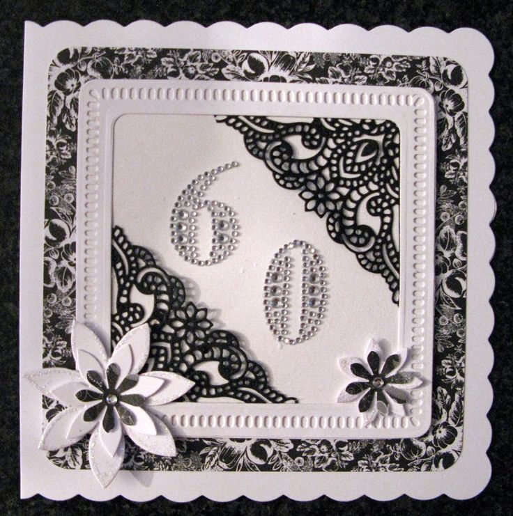 Tattered Lace Corners from Issue 12 (?) Made by Sandra Fairclough #tatteredlace #60thcard #cardmaking